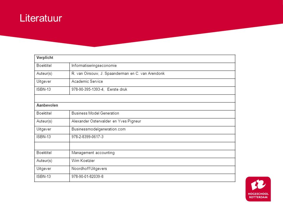 Literatuur Verplicht BoektitelInformatiseringseconomie Auteur(s)R.