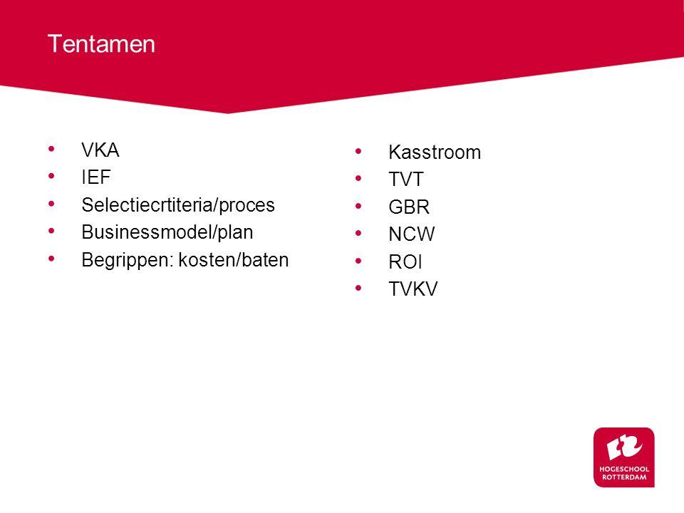 Tentamen VKA IEF Selectiecrtiteria/proces Businessmodel/plan Begrippen: kosten/baten Kasstroom TVT GBR NCW ROI TVKV