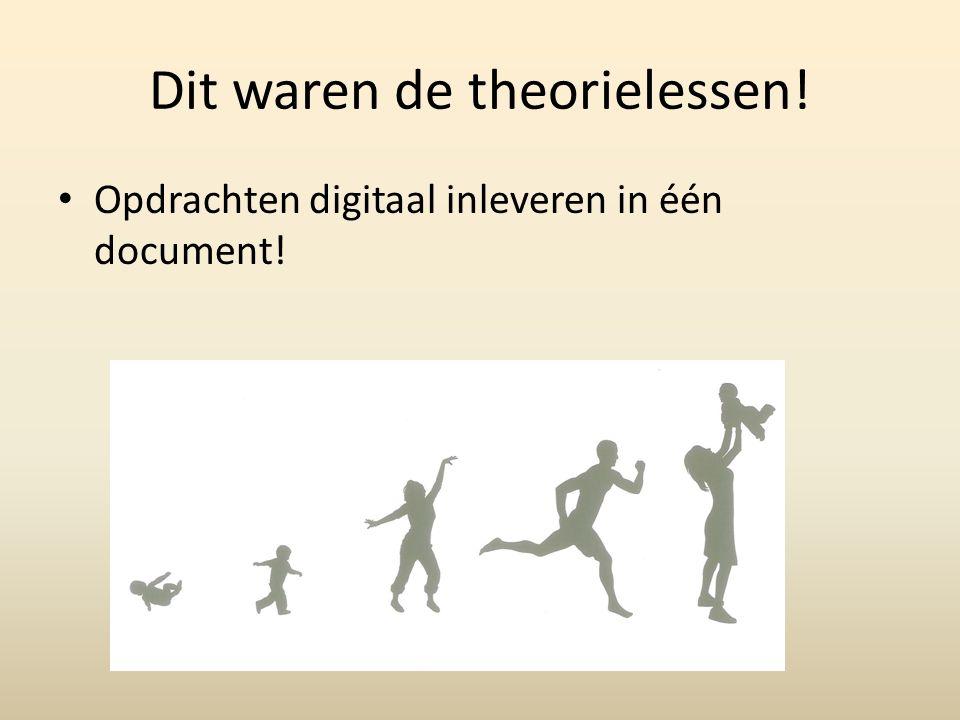 Dit waren de theorielessen! Opdrachten digitaal inleveren in één document!