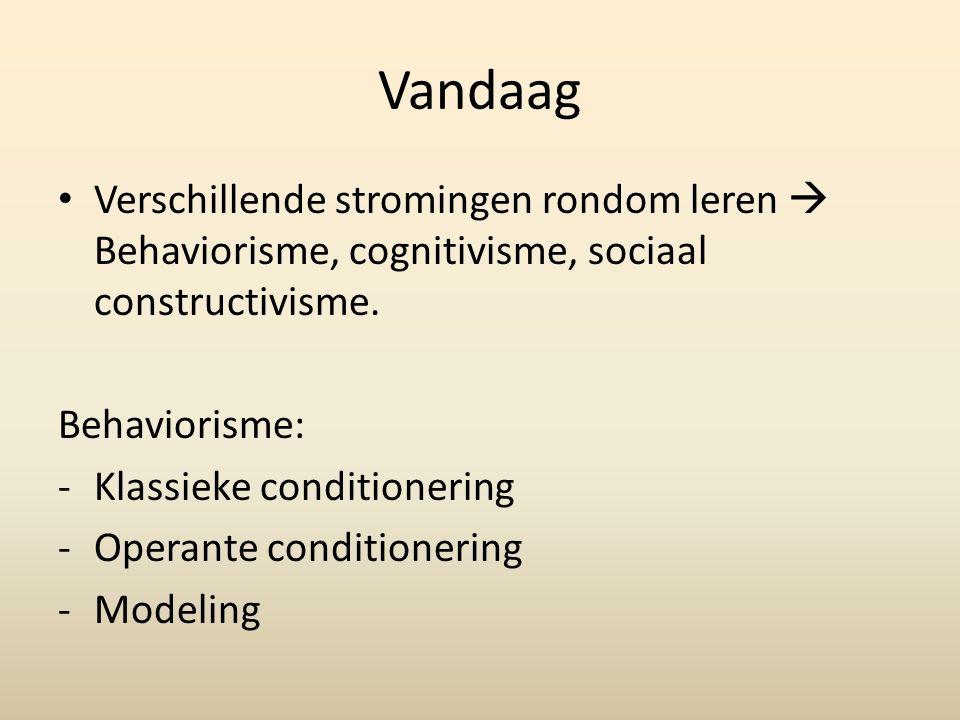 Behaviorisme Verschillende stromingen.Gericht op zichtbaar waarneembaar gedrag.