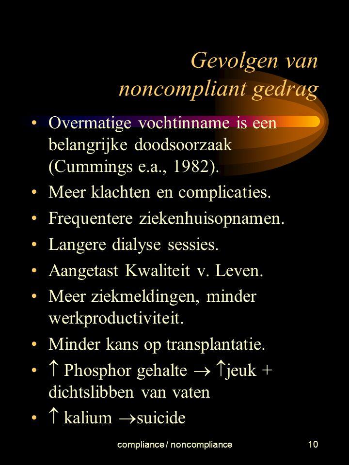 compliance / noncompliance10 Gevolgen van noncompliant gedrag Overmatige vochtinname is een belangrijke doodsoorzaak (Cummings e.a., 1982). Meer klach