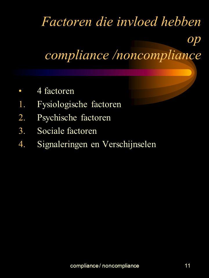 compliance / noncompliance11 Factoren die invloed hebben op compliance /noncompliance 4 factoren 1.Fysiologische factoren 2.Psychische factoren 3.Soci