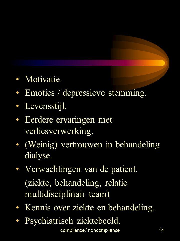 compliance / noncompliance14 Motivatie. Emoties / depressieve stemming. Levensstijl. Eerdere ervaringen met verliesverwerking. (Weinig) vertrouwen in