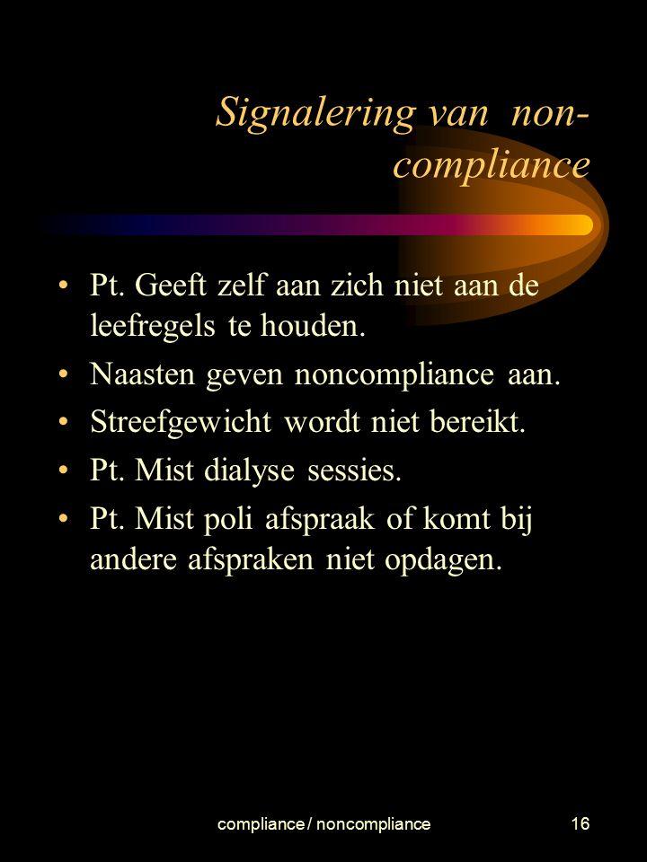 compliance / noncompliance16 Signalering van non- compliance Pt. Geeft zelf aan zich niet aan de leefregels te houden. Naasten geven noncompliance aan