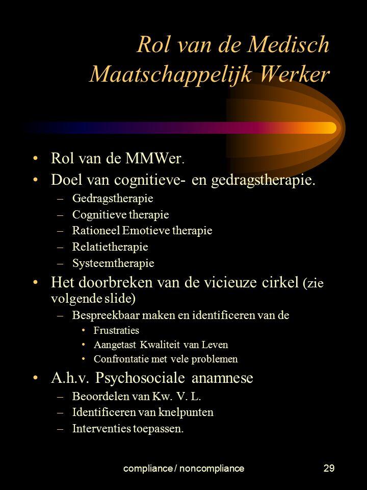 compliance / noncompliance29 Rol van de Medisch Maatschappelijk Werker Rol van de MMWer. Doel van cognitieve- en gedragstherapie. –Gedragstherapie –Co