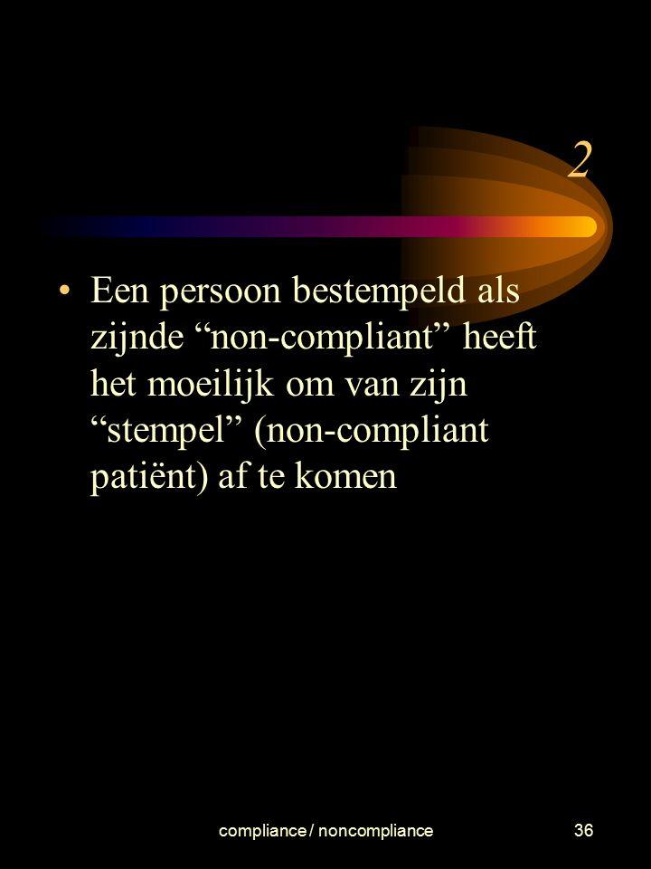 """compliance / noncompliance36 2 Een persoon bestempeld als zijnde """"non-compliant"""" heeft het moeilijk om van zijn """"stempel"""" (non-compliant patiënt) af t"""