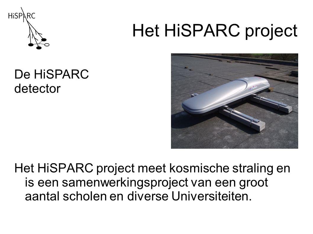 Het HiSPARC project Het HiSPARC project meet kosmische straling en is een samenwerkingsproject van een groot aantal scholen en diverse Universiteiten.