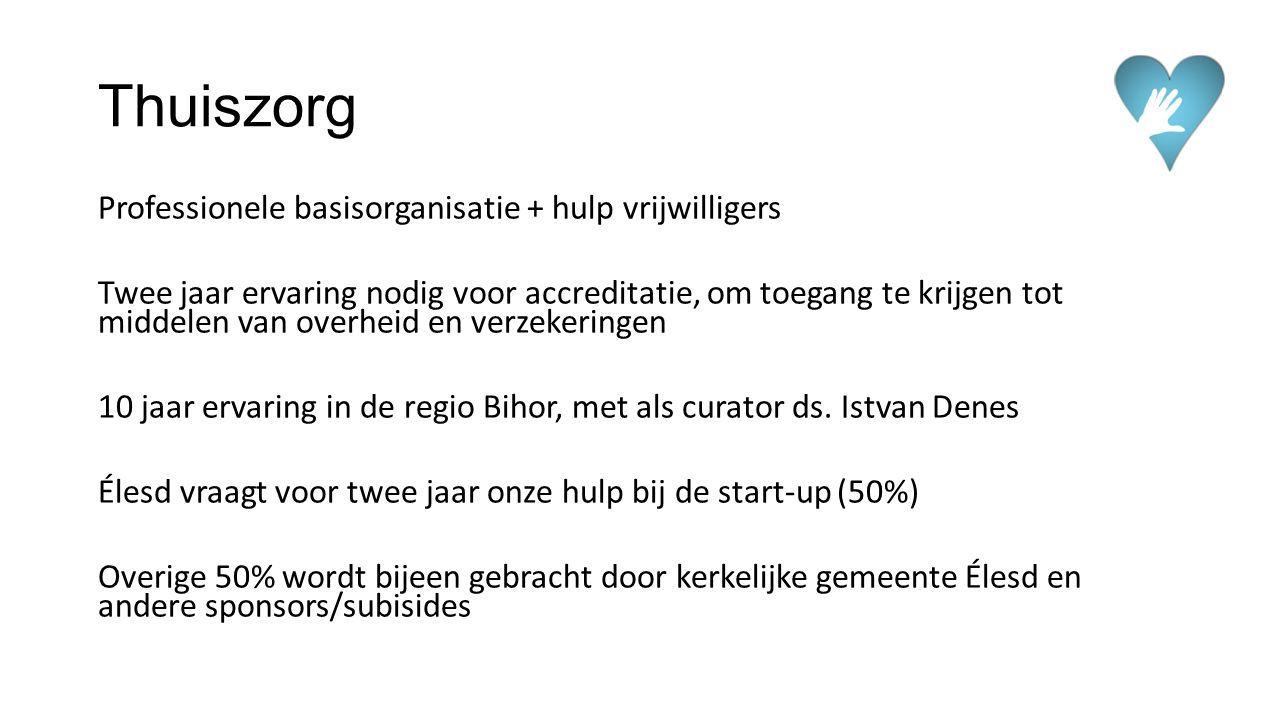 Thuiszorg Professionele basisorganisatie + hulp vrijwilligers Twee jaar ervaring nodig voor accreditatie, om toegang te krijgen tot middelen van overh