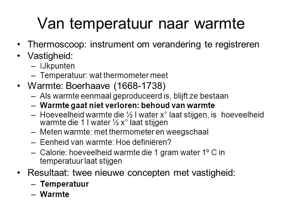 Van temperatuur naar warmte Thermoscoop: instrument om verandering te registreren Vastigheid: –IJkpunten –Temperatuur: wat thermometer meet Warmte: Bo