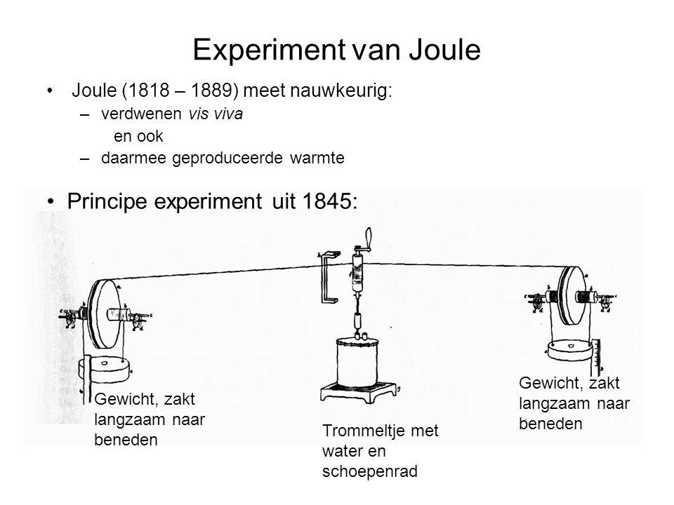 Experiment van Joule Joule (1818 – 1889) meet nauwkeurig: –verdwenen vis viva en ook –daarmee geproduceerde warmte Gewicht, zakt langzaam naar beneden Trommeltje met water en schoepenrad Gewicht, zakt langzaam naar beneden Principe experiment uit 1845: