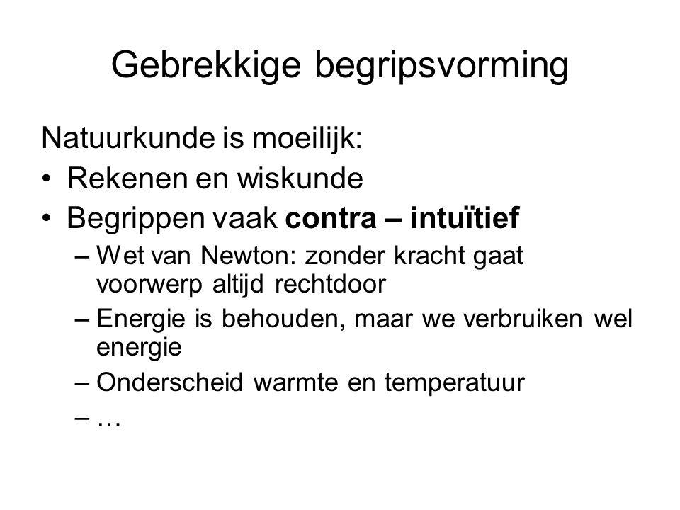 Gebrekkige begripsvorming Natuurkunde is moeilijk: Rekenen en wiskunde Begrippen vaak contra – intuïtief –Wet van Newton: zonder kracht gaat voorwerp altijd rechtdoor –Energie is behouden, maar we verbruiken wel energie –Onderscheid warmte en temperatuur –…–…