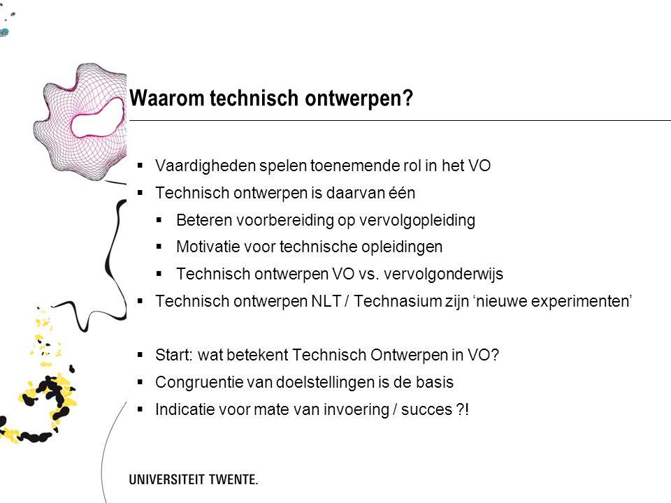 Technisch ontwerpen in het VO  Technisch ontwerpen geïntegreerd in monovakken:  Techniek 12+, Techniek 15+  (sinds vele jaren)  Natuur, leven en technologie  (NLT, top-bottom initiatief, sinds 2007)  Het vak O&O, in het Technasium  (bottom-up initiatief, sinds enkele jaren)