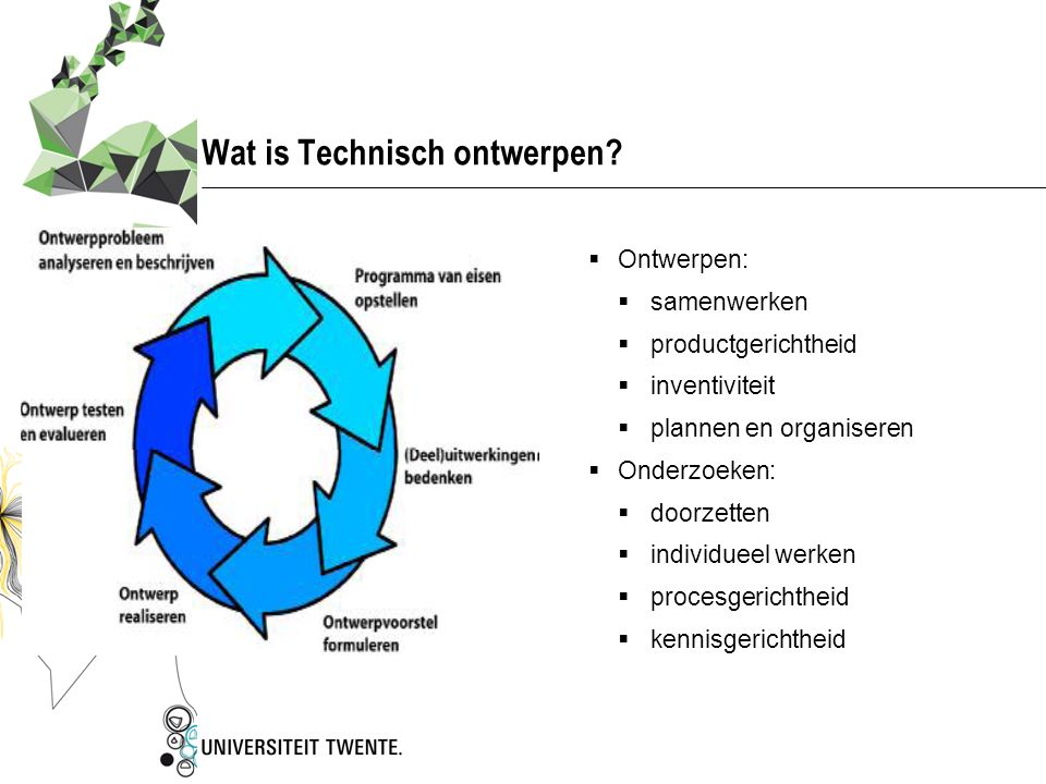 Technisch Ontwerpen: doelstellingen…  Waarom willen we technisch ontwerpen aanleren bij leerlingen?