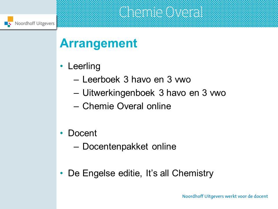 Arrangement Leerling –Leerboek 3 havo en 3 vwo –Uitwerkingenboek 3 havo en 3 vwo –Chemie Overal online Docent –Docentenpakket online De Engelse editie