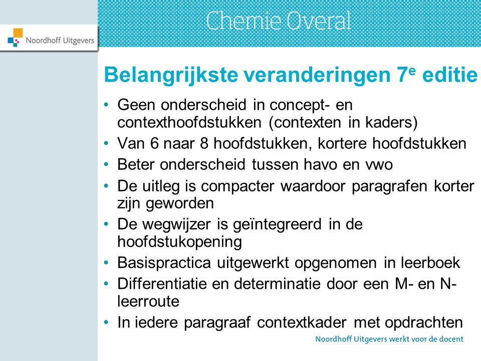 Belangrijkste veranderingen 7 e editie Geen onderscheid in concept- en contexthoofdstukken (contexten in kaders) Van 6 naar 8 hoofdstukken, kortere ho