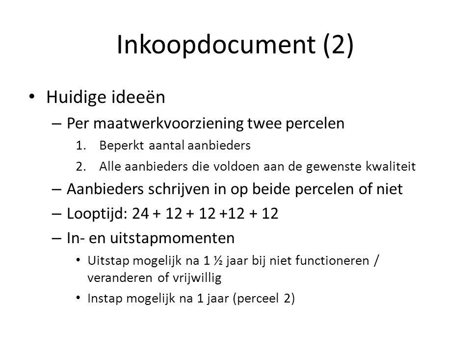 Inkoopdocument (2) Huidige ideeën – Per maatwerkvoorziening twee percelen 1.Beperkt aantal aanbieders 2.Alle aanbieders die voldoen aan de gewenste kw