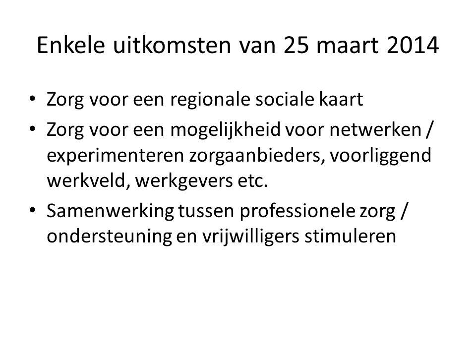 Enkele uitkomsten van 25 maart 2014 Zorg voor een regionale sociale kaart Zorg voor een mogelijkheid voor netwerken / experimenteren zorgaanbieders, voorliggend werkveld, werkgevers etc.