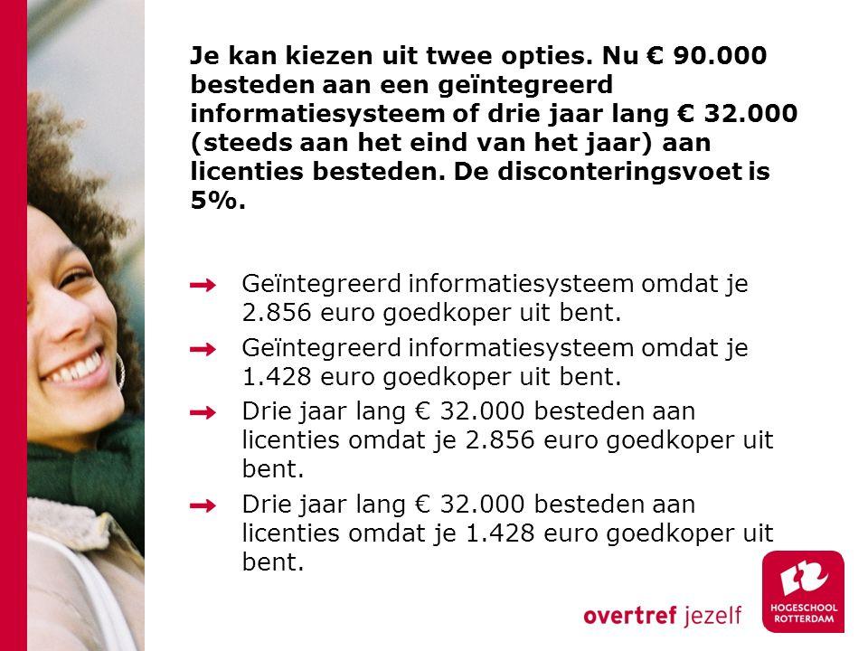 Je kan kiezen uit twee opties. Nu € 90.000 besteden aan een geïntegreerd informatiesysteem of drie jaar lang € 32.000 (steeds aan het eind van het jaa