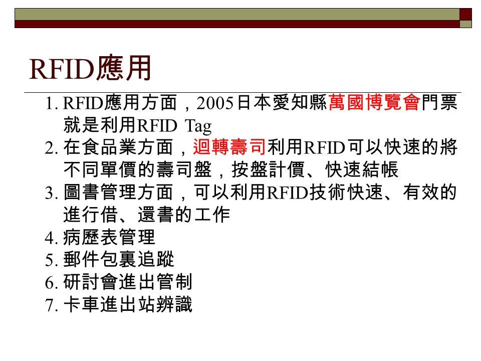 1.RFID 應用方面, 2005 日本愛知縣萬國博覽會門票 就是利用 RFID Tag 2. 在食品業方面,迴轉壽司利用 RFID 可以快速的將 不同單價的壽司盤,按盤計價、快速結帳 3.