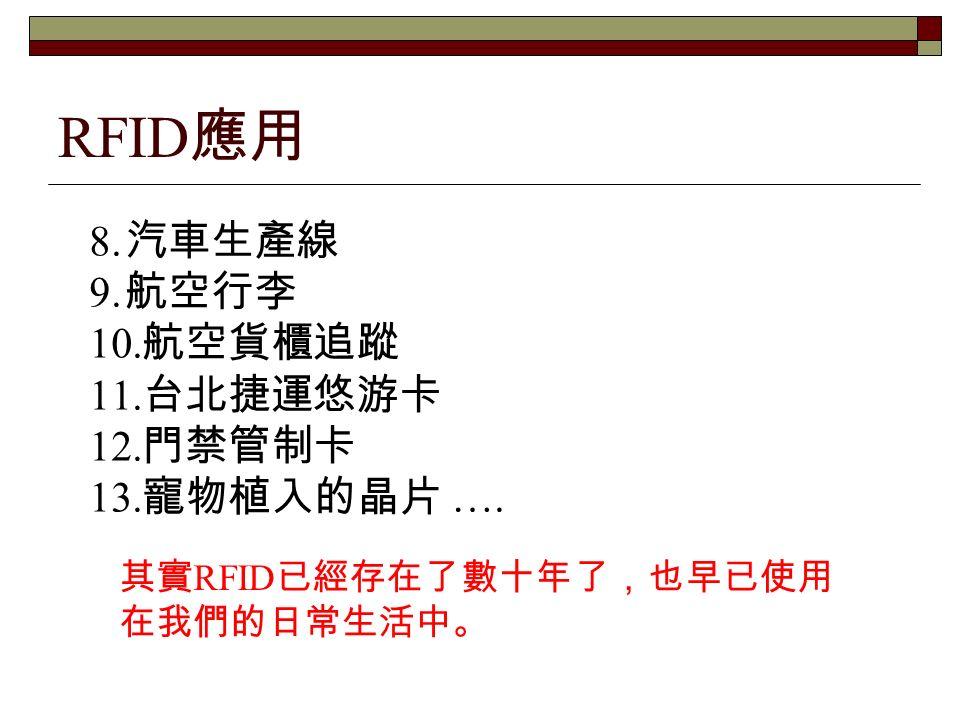 RFID 應用 8. 汽車生產線 9. 航空行李 10. 航空貨櫃追蹤 11. 台北捷運悠游卡 12.