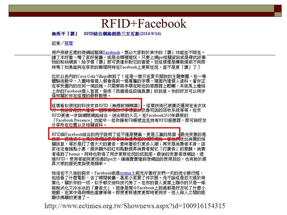 RFID+Facebook http://www.ectimes.org.tw/Shownews.aspx id=100916154315