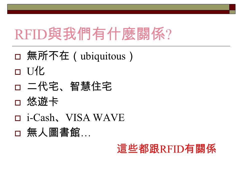 RFID 應用 8.汽車生產線 9. 航空行李 10. 航空貨櫃追蹤 11. 台北捷運悠游卡 12.