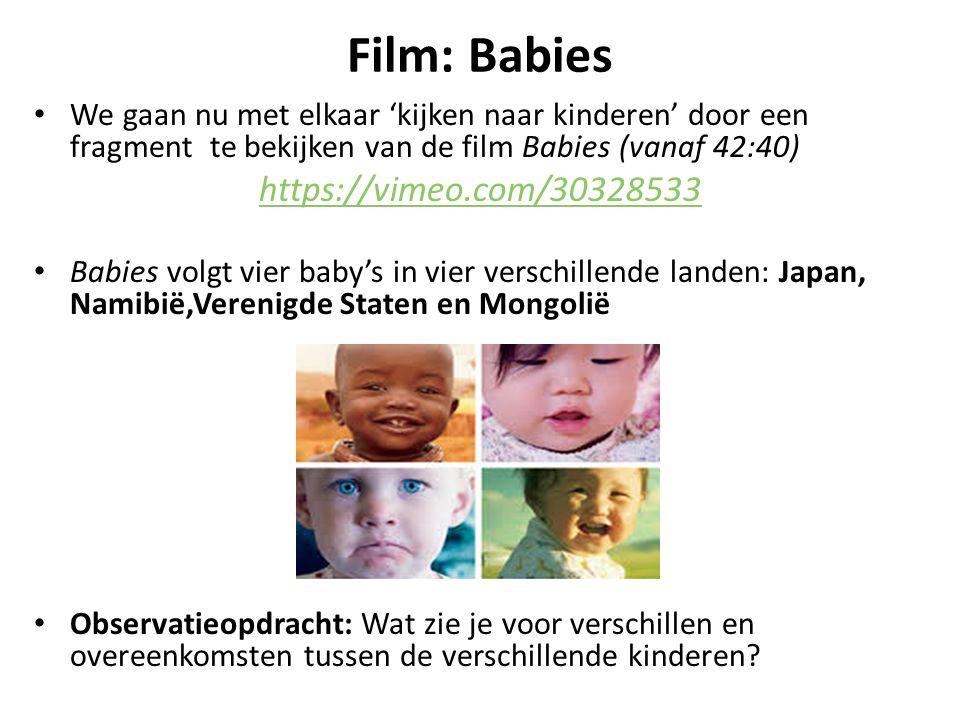 Film: Babies We gaan nu met elkaar 'kijken naar kinderen' door een fragment te bekijken van de film Babies (vanaf 42:40) https://vimeo.com/30328533 Ba