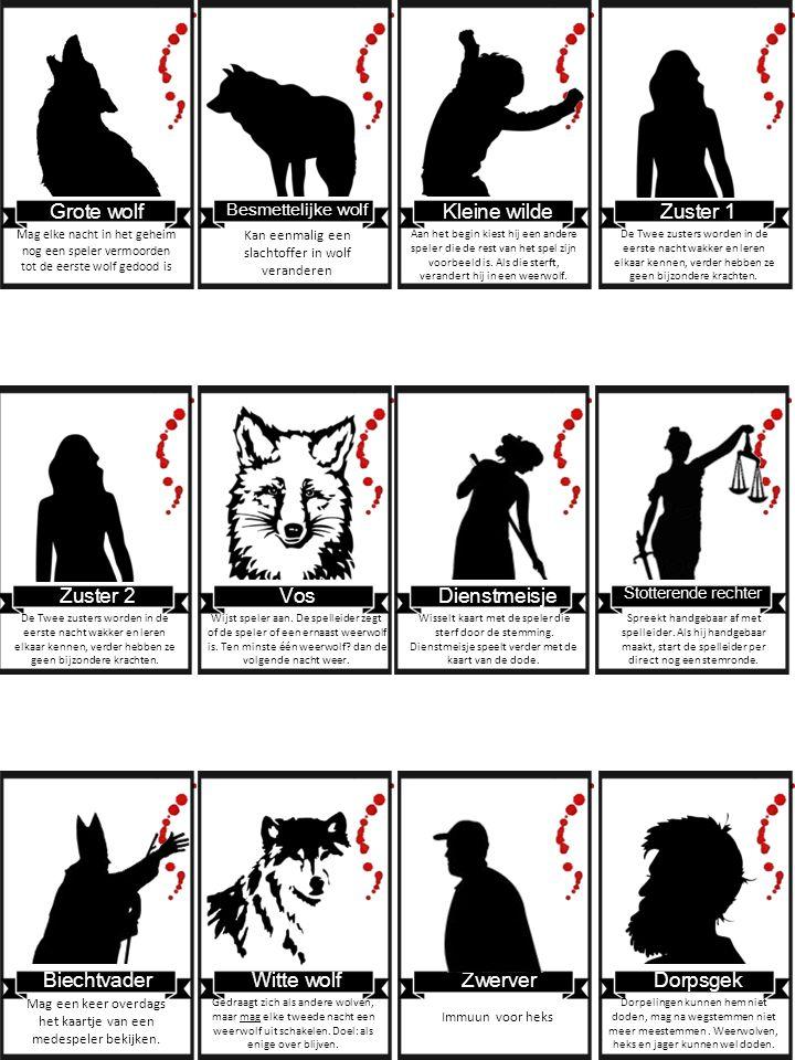 Mag een keer overdags het kaartje van een medespeler bekijken. Grote wolf Mag elke nacht in het geheim nog een speler vermoorden tot de eerste wolf ge