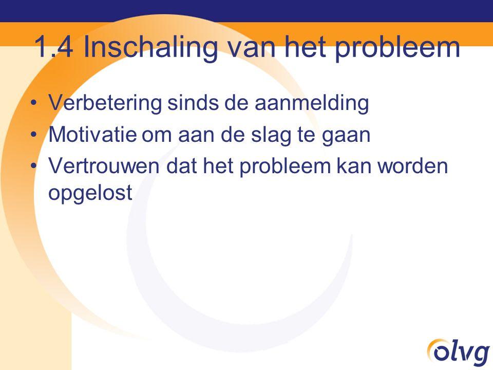 1.4 Inschaling van het probleem Verbetering sinds de aanmelding Motivatie om aan de slag te gaan Vertrouwen dat het probleem kan worden opgelost