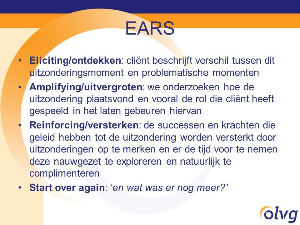 EARS Eliciting/ontdekken: cliënt beschrijft verschil tussen dit uitzonderingsmoment en problematische momenten Amplifying/uitvergroten: we onderzoeken