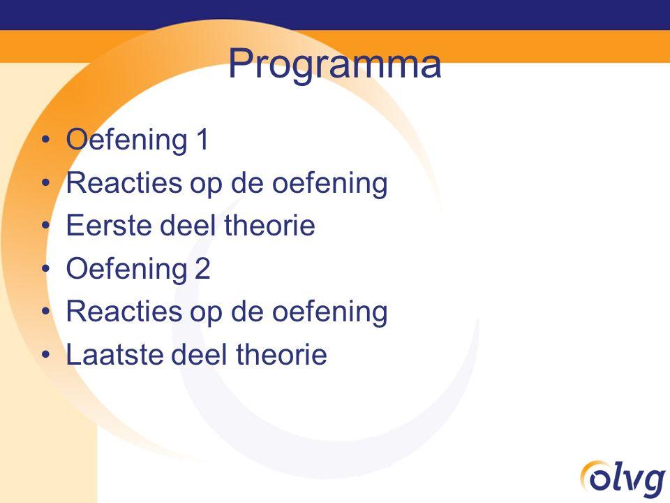 Programma Oefening 1 Reacties op de oefening Eerste deel theorie Oefening 2 Reacties op de oefening Laatste deel theorie