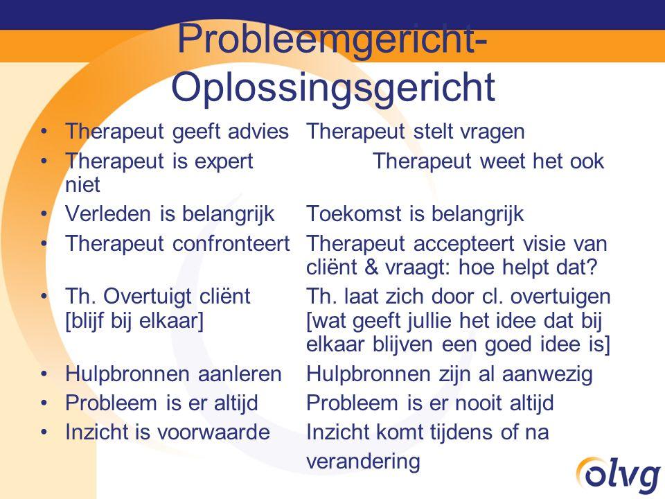 Probleemgericht- Oplossingsgericht Therapeut geeft adviesTherapeut stelt vragen Therapeut is expertTherapeut weet het ook niet Verleden is belangrijkT