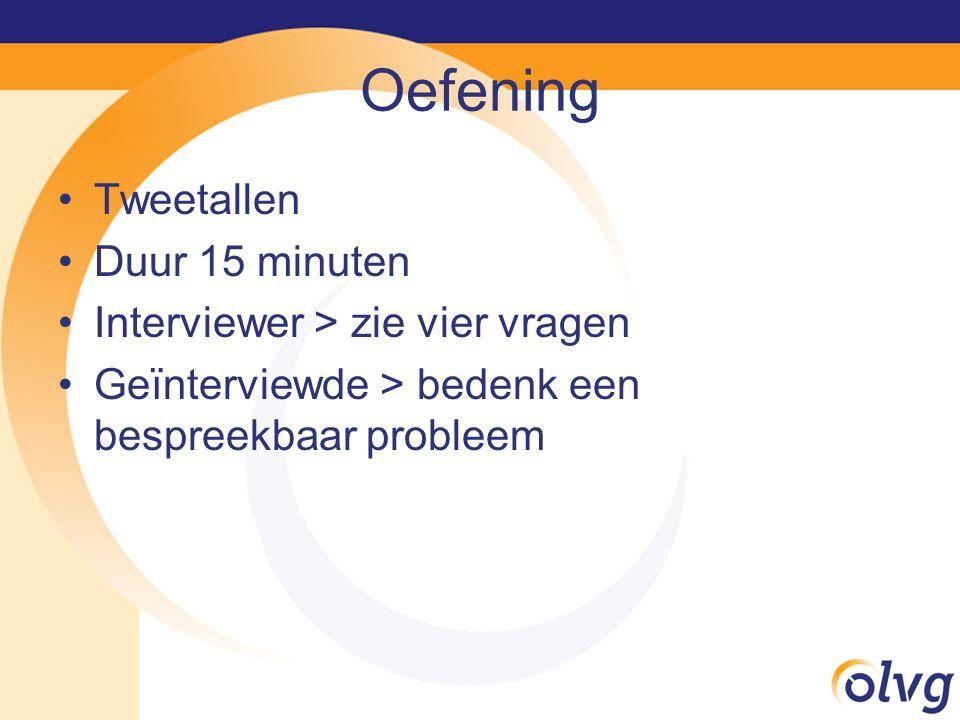 Oefening Tweetallen Duur 15 minuten Interviewer > zie vier vragen Geïnterviewde > bedenk een bespreekbaar probleem