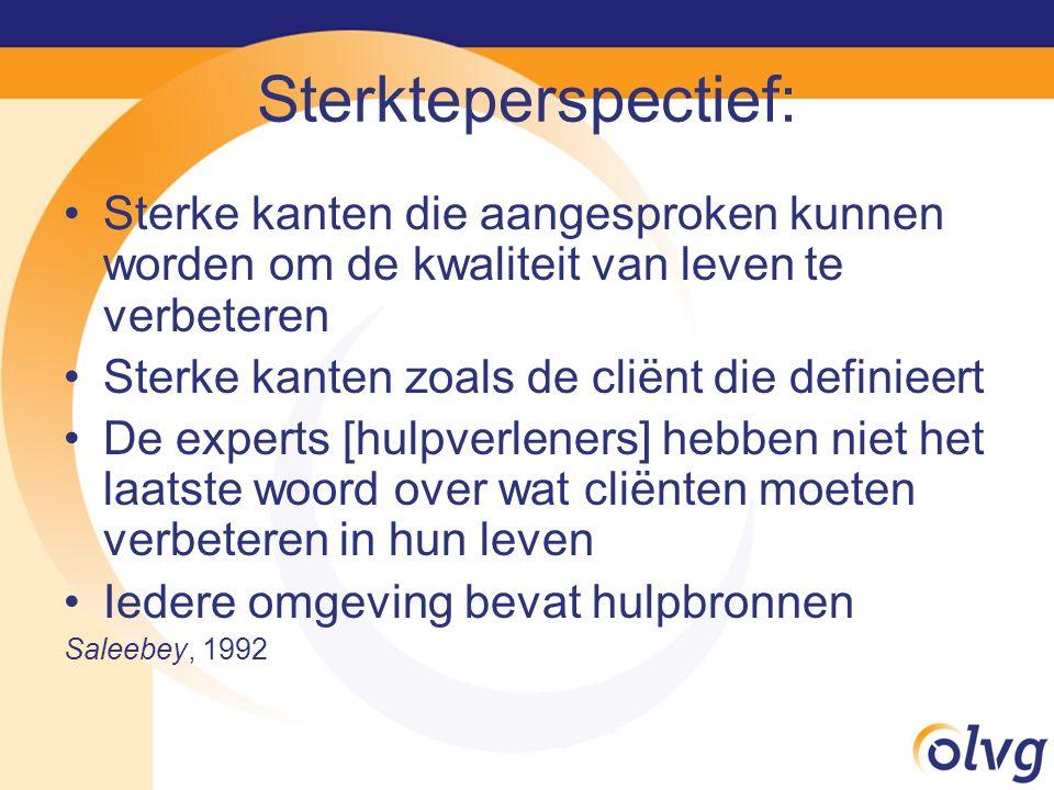 Sterkteperspectief: Sterke kanten die aangesproken kunnen worden om de kwaliteit van leven te verbeteren Sterke kanten zoals de cliënt die definieert