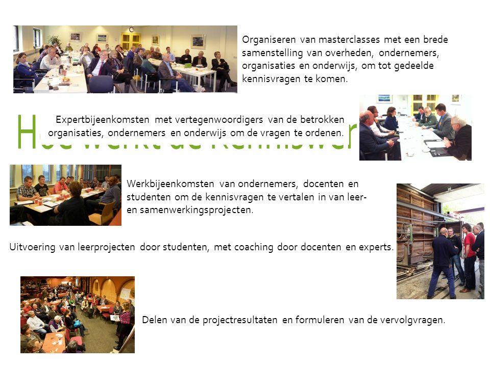 Gebiedscoöperatie Westerkwartier – November 2015 10 Organiseren van masterclasses met een brede samenstelling van overheden, ondernemers, organisaties en onderwijs, om tot gedeelde kennisvragen te komen.