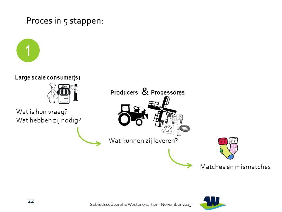 Gebiedscoöperatie Westerkwartier – November 2015 Proces in 5 stappen: Large scale consumer(s) Wat is hun vraag.