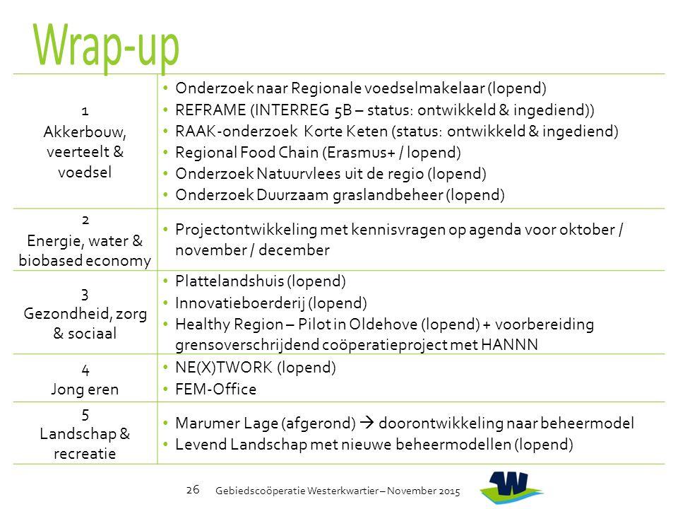 Gebiedscoöperatie Westerkwartier – November 2015 26 1 Akkerbouw, veerteelt & voedsel Onderzoek naar Regionale voedselmakelaar (lopend) REFRAME (INTERREG 5B – status: ontwikkeld & ingediend)) RAAK-onderzoek Korte Keten (status: ontwikkeld & ingediend) Regional Food Chain (Erasmus+ / lopend) Onderzoek Natuurvlees uit de regio (lopend) Onderzoek Duurzaam graslandbeheer (lopend) 2 Energie, water & biobased economy Projectontwikkeling met kennisvragen op agenda voor oktober / november / december 3 Gezondheid, zorg & sociaal Plattelandshuis (lopend) Innovatieboerderij (lopend) Healthy Region – Pilot in Oldehove (lopend) + voorbereiding grensoverschrijdend coöperatieproject met HANNN 4 Jong eren NE(X)TWORK (lopend) FEM-Office 5 Landschap & recreatie Marumer Lage (afgerond)  doorontwikkeling naar beheermodel Levend Landschap met nieuwe beheermodellen (lopend)