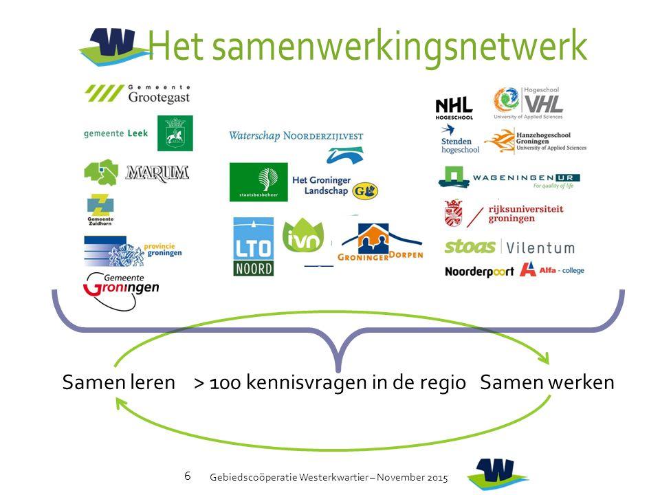 Gebiedscoöperatie Westerkwartier – November 2015 6 > 100 kennisvragen in de regioSamen lerenSamen werken