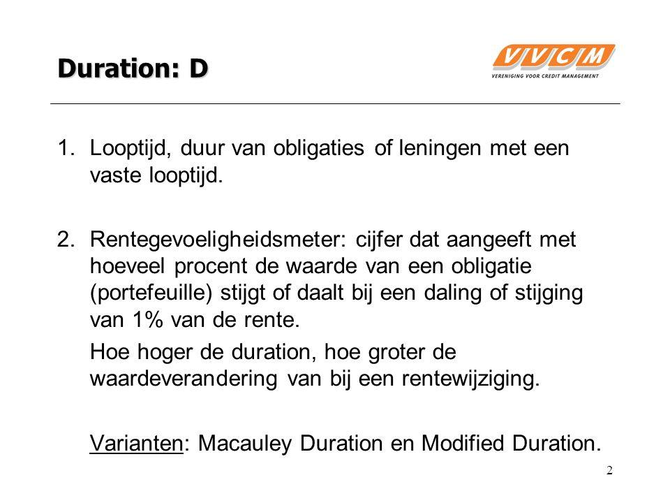 2 Duration: D 1.Looptijd, duur van obligaties of leningen met een vaste looptijd.