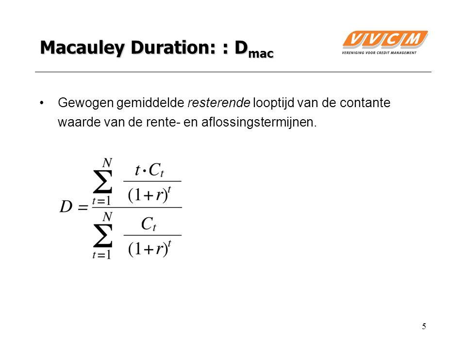 5 Macauley Duration: : D mac Gewogen gemiddelde resterende looptijd van de contante waarde van de rente- en aflossingstermijnen.