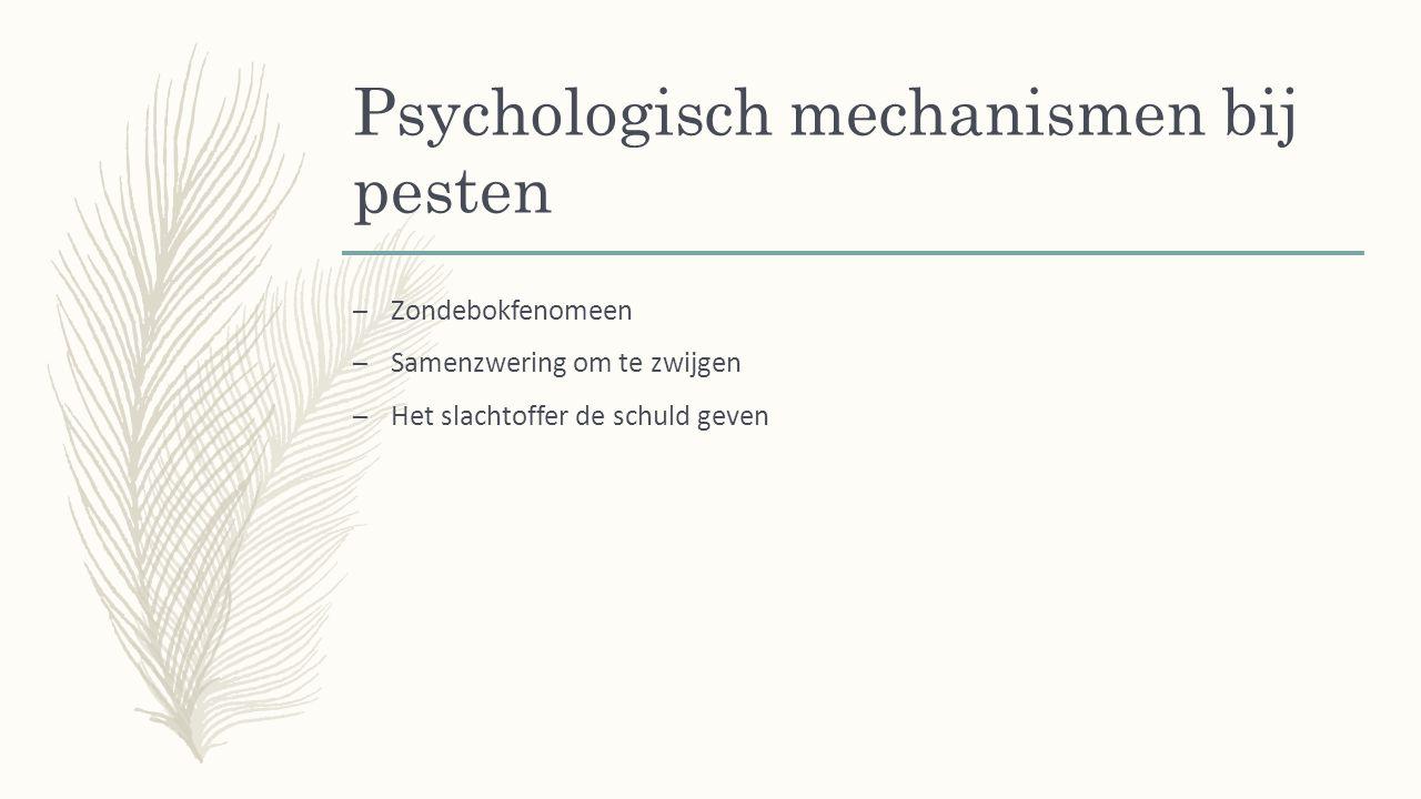 Psychologisch mechanismen bij pesten – Zondebokfenomeen – Samenzwering om te zwijgen – Het slachtoffer de schuld geven
