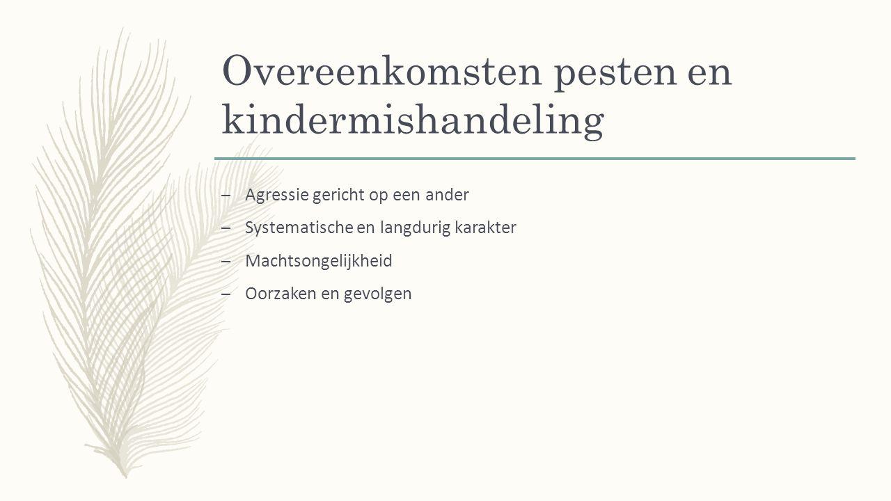 Overeenkomsten pesten en kindermishandeling – Agressie gericht op een ander – Systematische en langdurig karakter – Machtsongelijkheid – Oorzaken en gevolgen