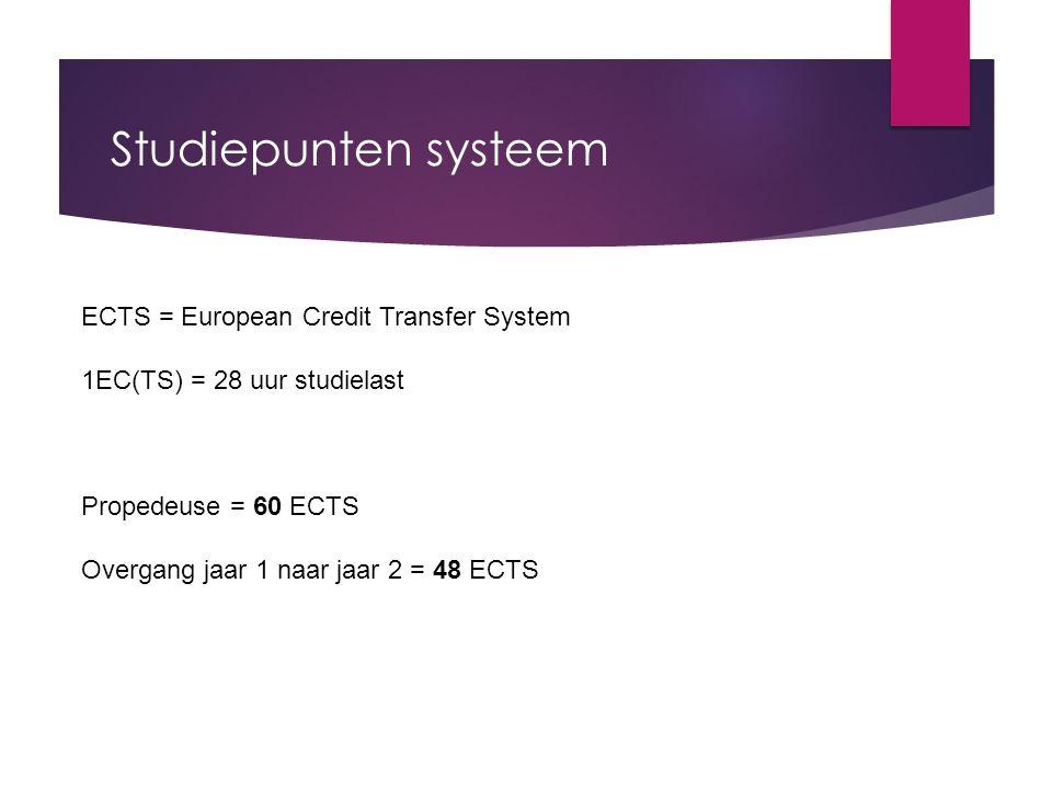 Studiepunten systeem ECTS = European Credit Transfer System 1EC(TS) = 28 uur studielast Propedeuse = 60 ECTS Overgang jaar 1 naar jaar 2 = 48 ECTS