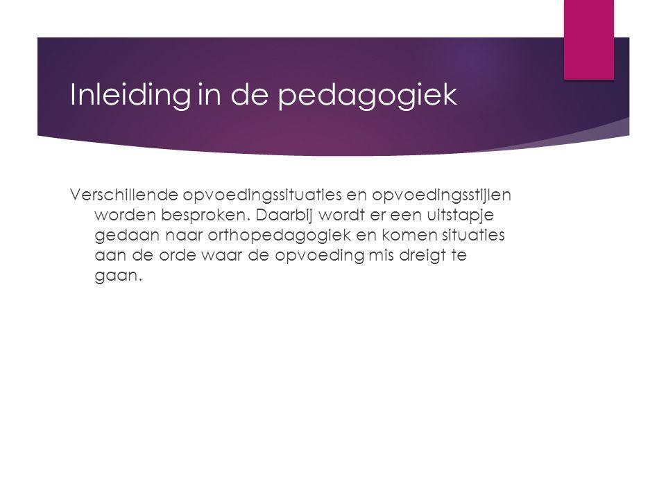 Inleiding in de pedagogiek Verschillende opvoedingssituaties en opvoedingsstijlen worden besproken.
