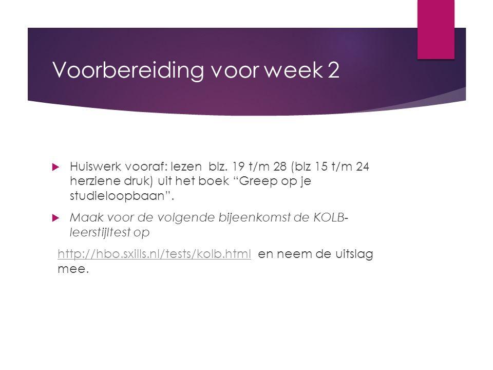 Voorbereiding voor week 2  Huiswerk vooraf: lezen blz.