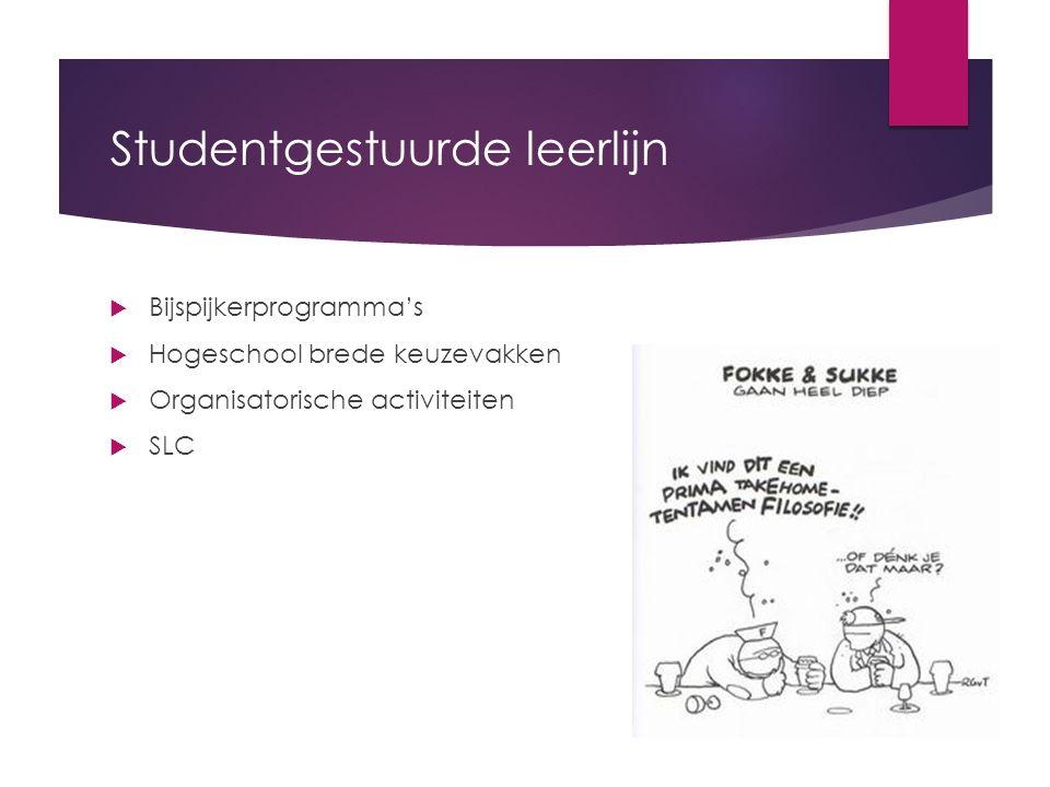 Studentgestuurde leerlijn  Bijspijkerprogramma's  Hogeschool brede keuzevakken  Organisatorische activiteiten  SLC