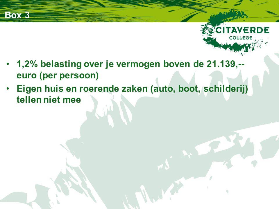 Box 3 1,2% belasting over je vermogen boven de 21.139,-- euro (per persoon) Eigen huis en roerende zaken (auto, boot, schilderij) tellen niet mee