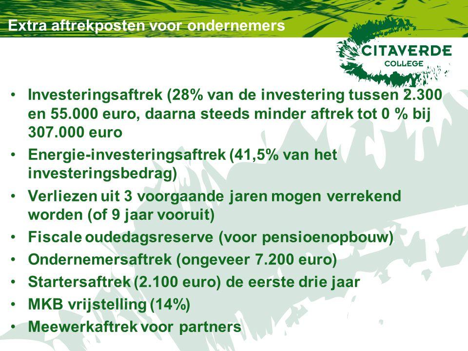 Extra aftrekposten voor ondernemers Investeringsaftrek (28% van de investering tussen 2.300 en 55.000 euro, daarna steeds minder aftrek tot 0 % bij 30
