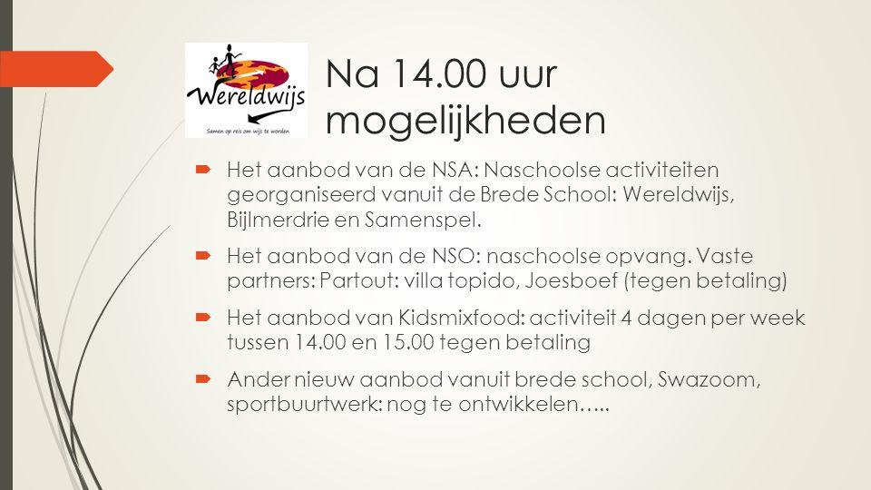 Na 14.00 uur mogelijkheden  Het aanbod van de NSA: Naschoolse activiteiten georganiseerd vanuit de Brede School: Wereldwijs, Bijlmerdrie en Samenspel.