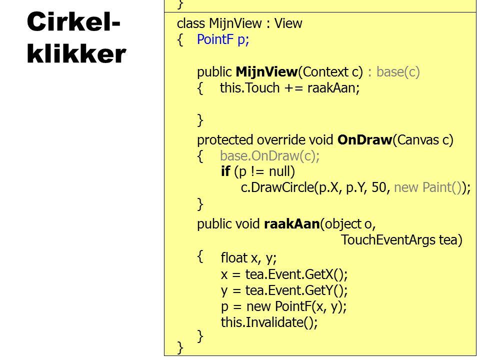 SensorManager } { public MijnView(Context c) : base(c) { class MijnView : View public void OnSensorChanged(SensorEvent s) { }, ISensorListener this,......SensorType.